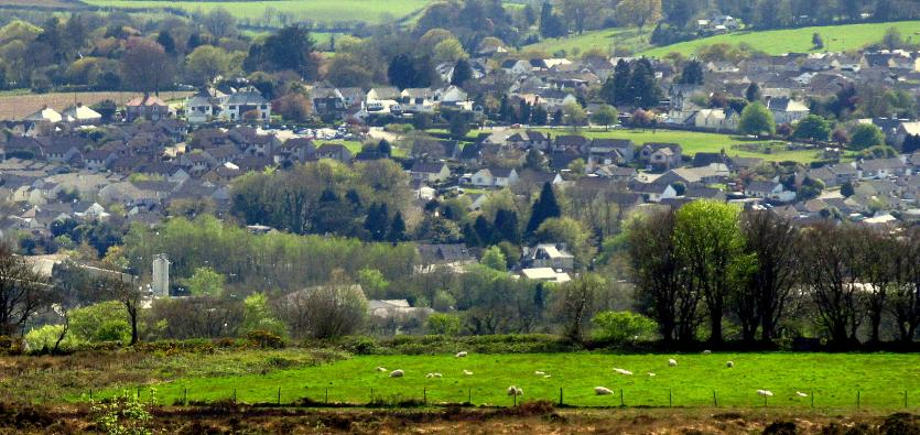 View over Callington, site of King Aurthur's Court